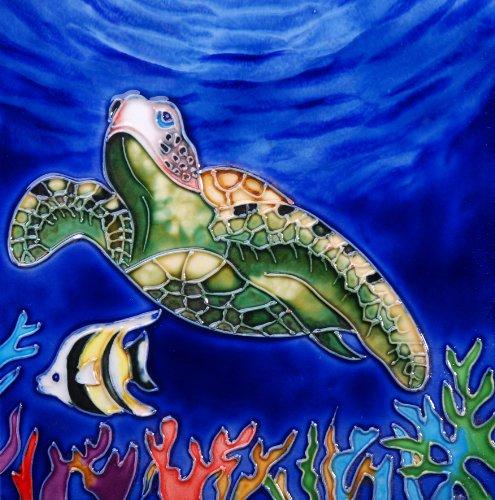 Turtle Box Tile - Turtle - Decorative Ceramic Art Tile - 8