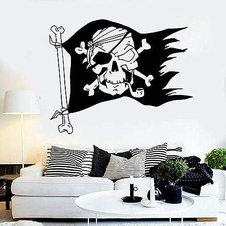 zqyjhkou Jolly Roger Bandera Pirata Skull Bones Pegatinas ...