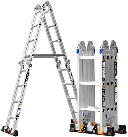 LJSJT Escalera Plegable de Aluminio Aluminio Grueso Escalera del ático usos Multiples 4 Veces 3 Pasos Peso del rodamiento 150kg Escalera Tipo A (Color : Thickness 5mm): Amazon.es: Hogar