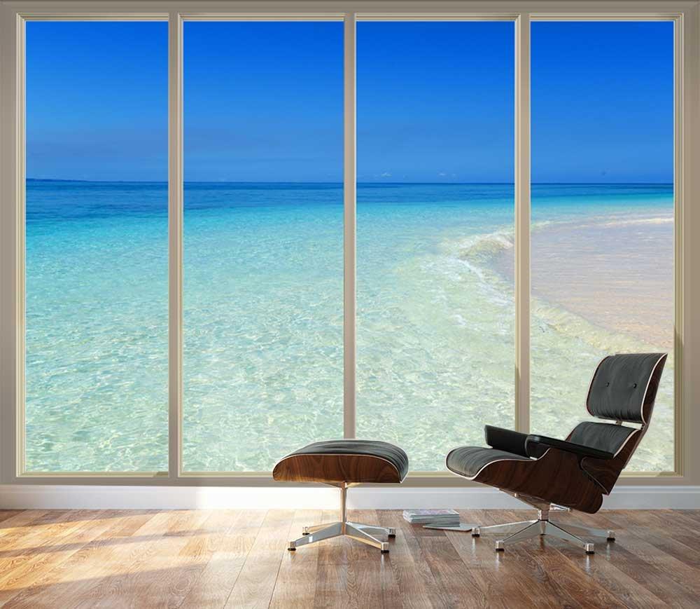 Large Wall Mural Tropical Beach Seen Through Sliding Glass Doors 3D