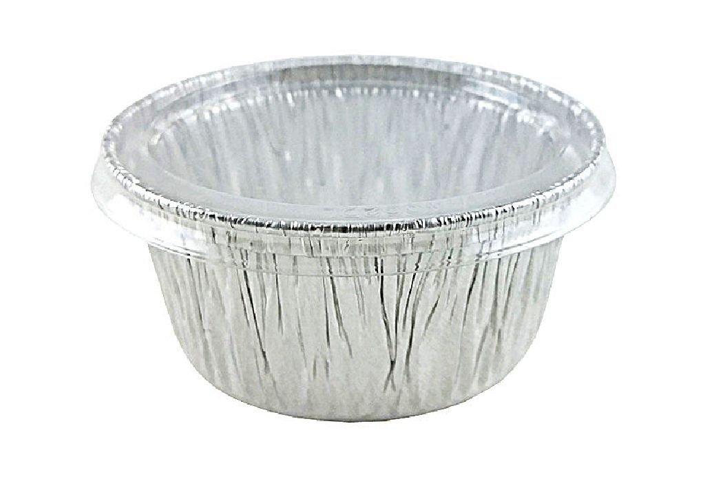 4 oz. Alumiunum Foil Cup w/Clear Lid - Utility/Cupcake/Ramekin 500/PK