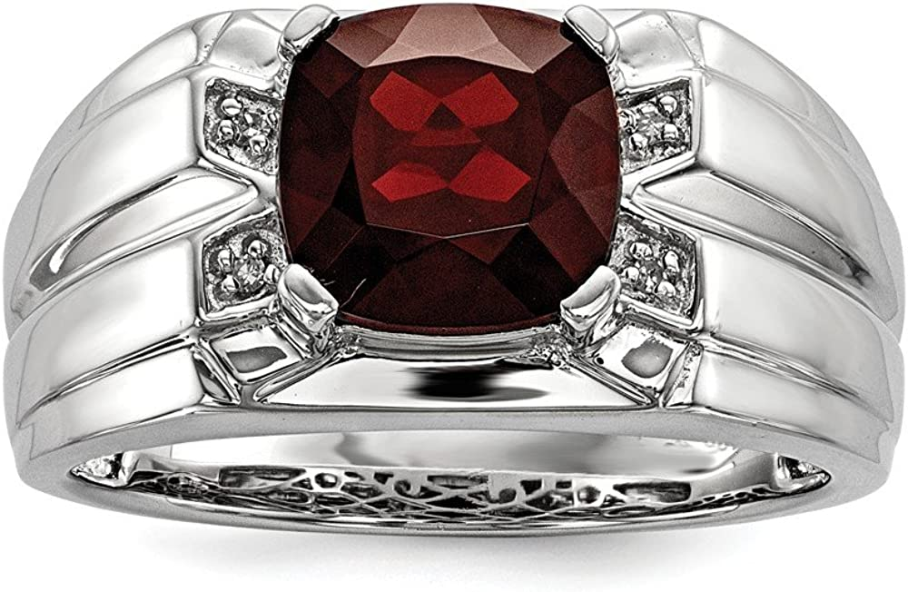 Top 10 Jewelry Gift Sterling Silver Garnet /& Diamond Square Mens Ring