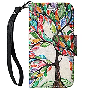 SumacLife Leather Wrist Strap Wallet Case for Apple iPhone 6s Plus/6 Plus - Retail Packaging - Rainbow Tree