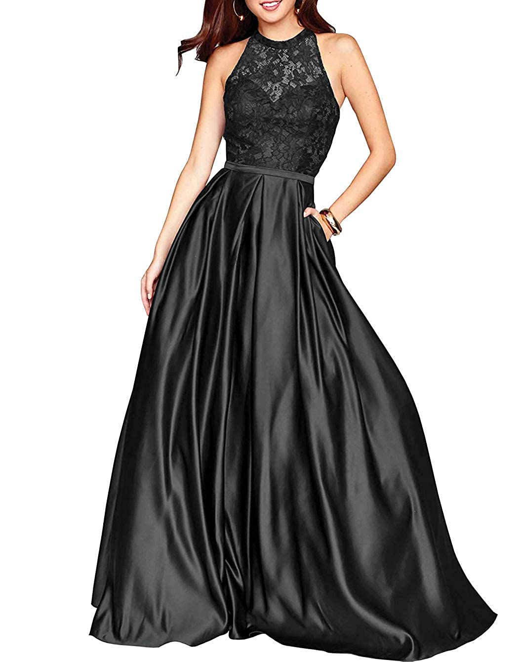 Black PearlBridal Women's Halter Lace Prom Dresses Backless A Line Long Evening Formal Dress with Pockets