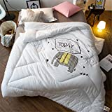 YEVEM Cute Cartoon Soft Breathable Children's Quilts Comforter White Pink Bed Quilt Twin Full for Kids (Full 78'' X 90'', Style 2)