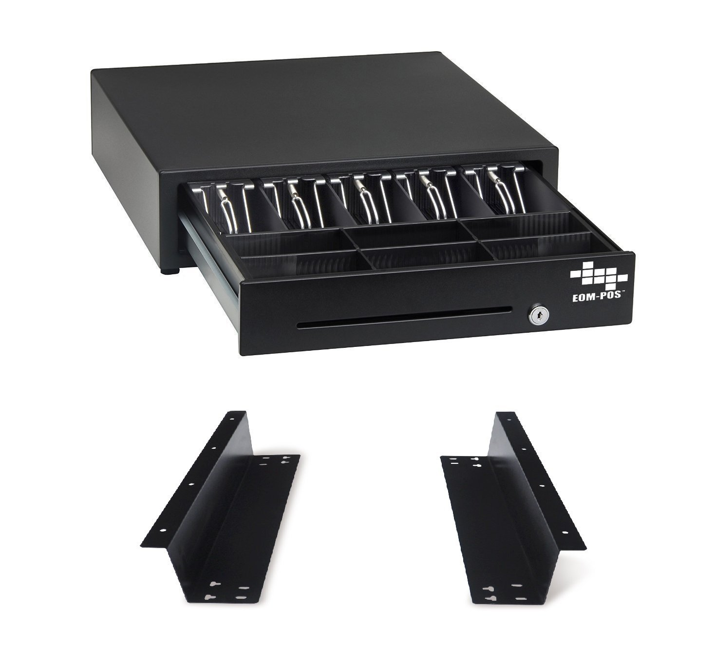 EOM-POS Heavy Duty Cash Register Money Drawer + Mounting Brackets for Under Counter Installation. Compatible with Square Stand [Receipt Printer Required]. Built in cable to connect to receipt printer.