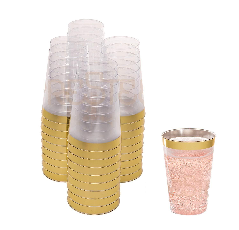 drinket oro vasos de plástico desechables 12 oz claro vasos de plástico/vasos tazas de boda con oro borde de plástico - 50 Ct para fiesta vacaciones y ...