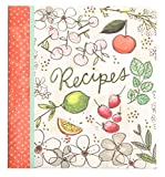 C.R. Gibson Recipe Book, Durable 3-Ring Binder, Holds 40 Recipe Cards Measuring 4'' x 6'', Book Measures 9'' x 9.5'' − Fruit Fusion