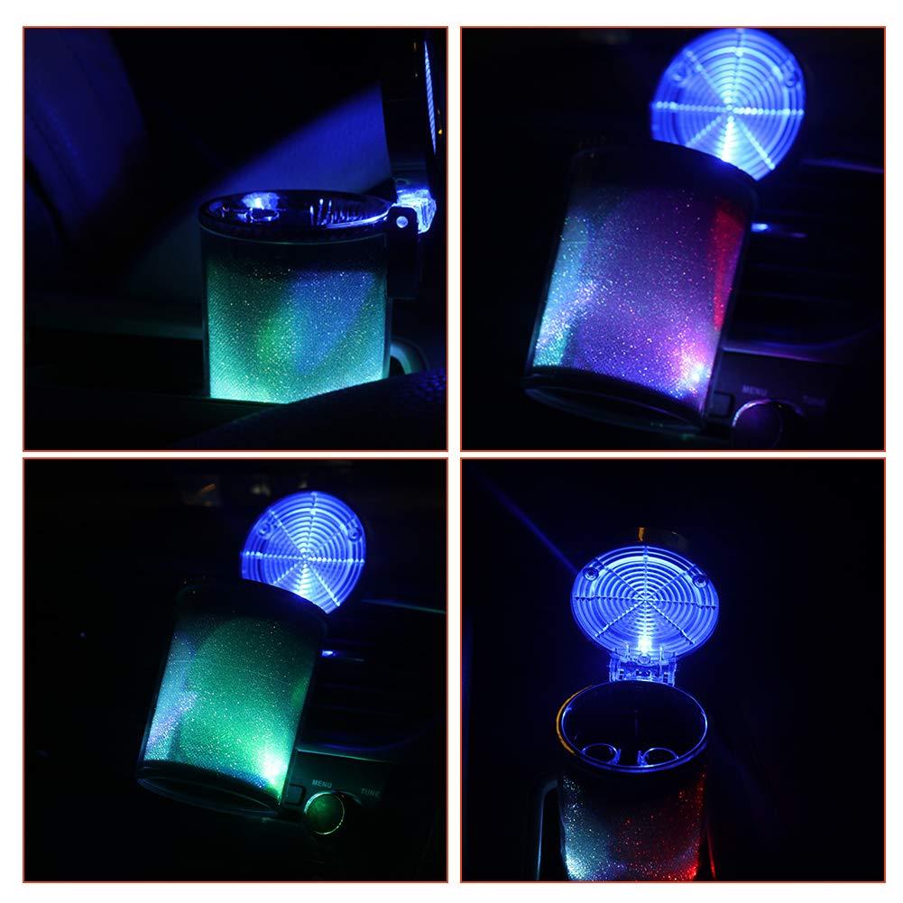 sin humo cil/índrico para soporte de taza y rejilla de ventilaci/ón de coche con luz LED que cambia de color y cubierta BestEU Cenicero para cigarrillos de coche