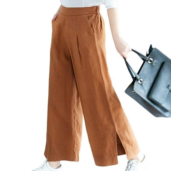 a8eb9969cb9d Femme Printemps Eté Elégante Mode Pantalons Large Uni Manche avec Poches  Style de fête Taille Haute