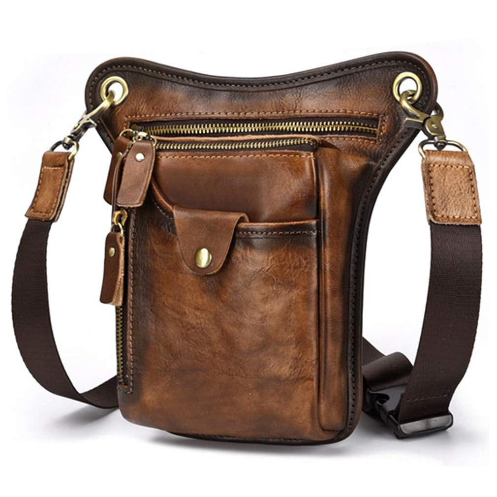 Vintage Leather Drop Leg Bag for Men Women Thigh Hip Bum Waist Fanny Pack Motorcycle Bike Riding Cycling Multi-Purpose Travel Hiking Sports Camping Pouch Coffee by Bag pack