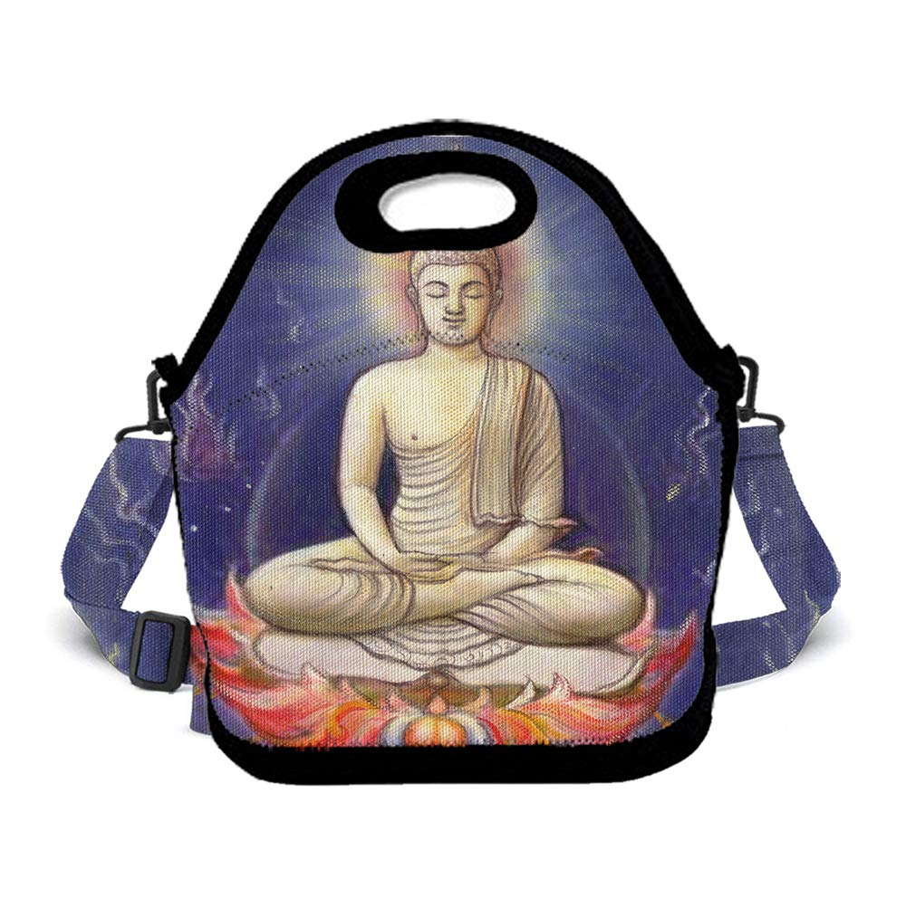 OKAYDECOR Neoprene Insulated Tote Picnic Lunch Backpack Shoulder Bags with Movable Adjustable Strap for Girls Women Men Boys Kids Students(Spa Decor Asian Buddha Zen)