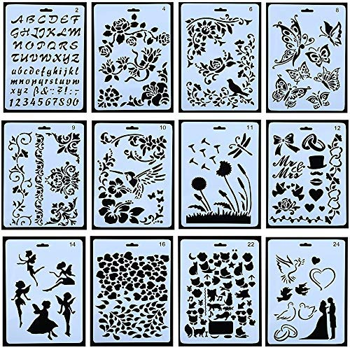 12pcs Drawing Painting Stencils Scale Template Sets 10 X 7 inch, Plastic Shapes Scrapbook Stencils Graphics Stencils for Children Creation,Scrapbooking (Drawing Of A Flower In A Pot)