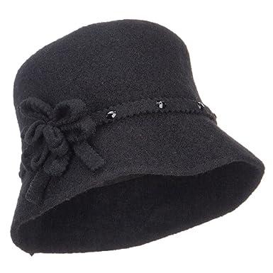 f0c43f86b4c Jeanne Simmons Flower Band Wool Bucket Hat - Black OSFM at Amazon Women s  Clothing store