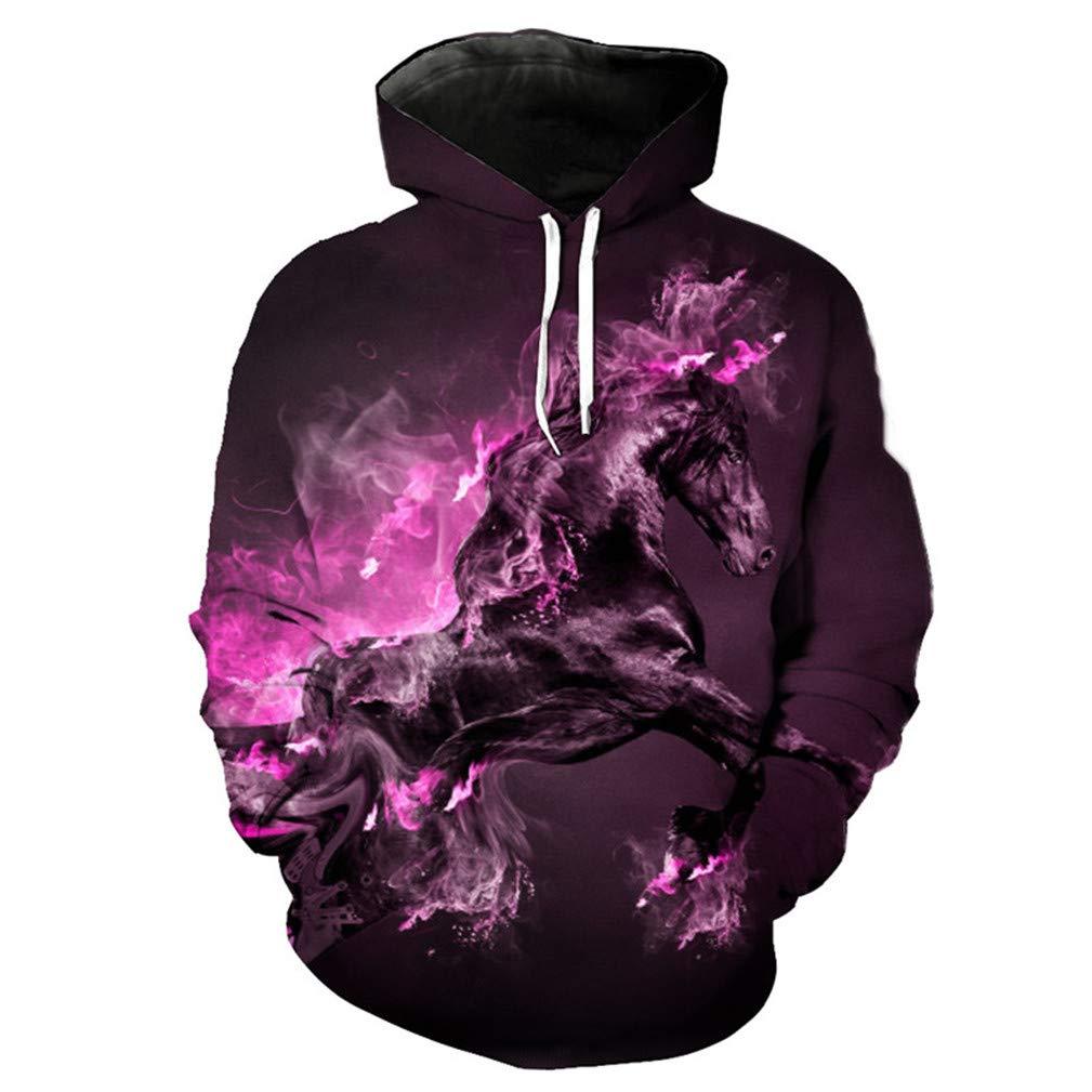 Purple Smoke Horse Hooded Sweatshirt Cool Pullover Hoodies