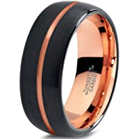 Tungsten Wedding Band Ring 8mm for Men Women Black Rose Yellow Gold Plated Dome Centerline Brushed Polished