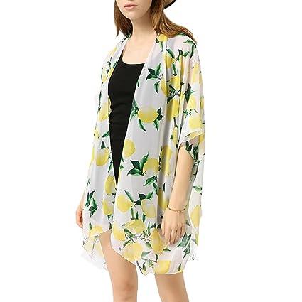 Bikini Cover up mujer ❤ Amlaiworld Chaqueta de gasa de mujeres que imprime Cárdigan Kimono