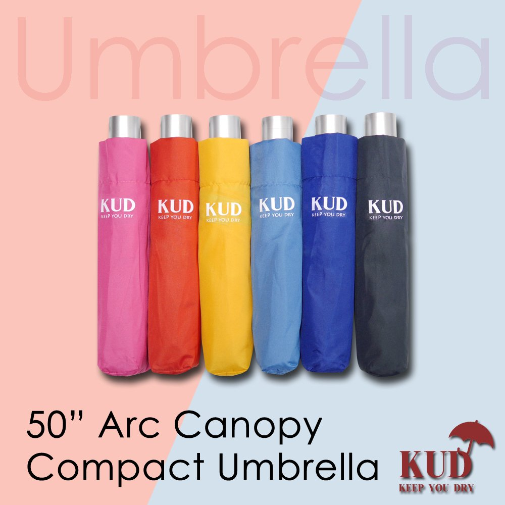 KUD Lightweight Compact travel umbrella with 50 inch Arc large coverage (Red) by Keep You Dry (Image #8)