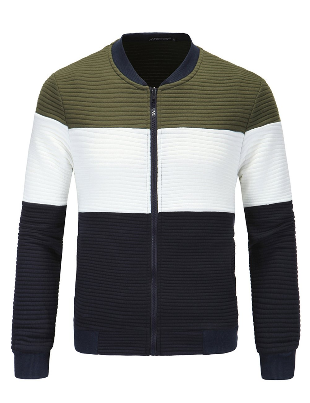Men's European Style Fashion Cardigan Stand Collar Slim Jacket Green 3XL