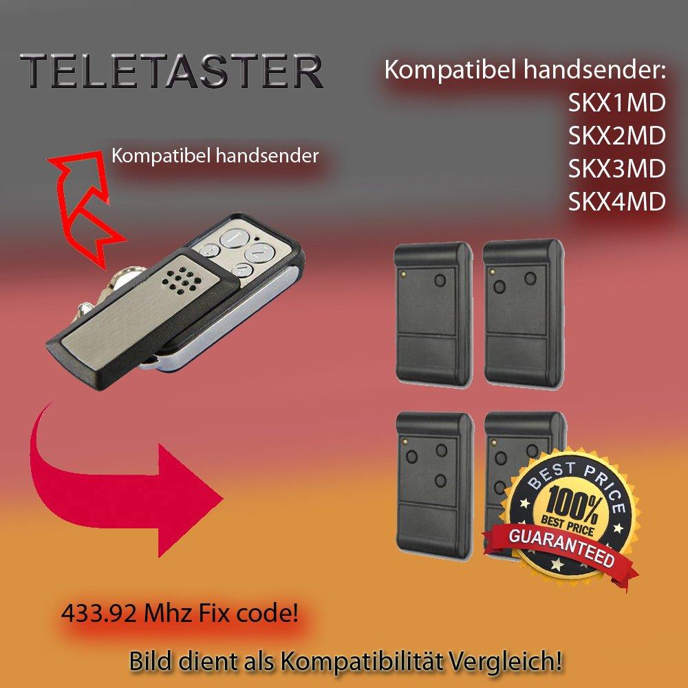 X2teletaster–skx1md/skx2md/skx3md/skx4md, 433.92MHz compatible emisor, transmisor de repuesto (Código fijo)