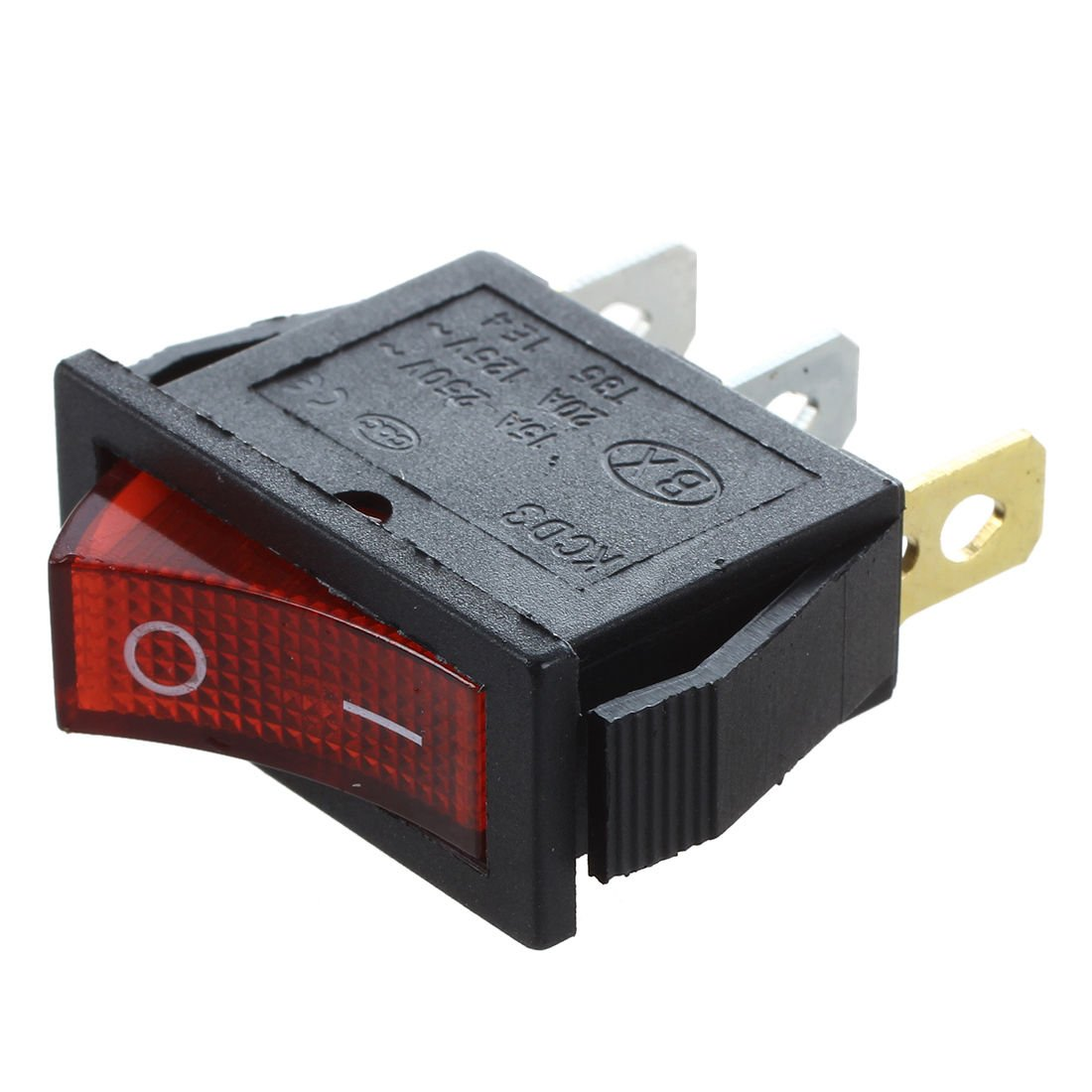 SODIAL Rocker Switch ON OFF Bright Bipolar 28x10mm 250V 15A 3 Terminals RED