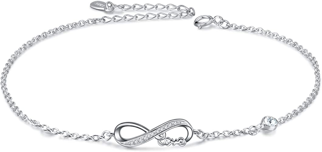 Bracelet de cheville en argent sterling 925 avec cristaux Swarovski et  breloque en symbole de l'infini pour femme