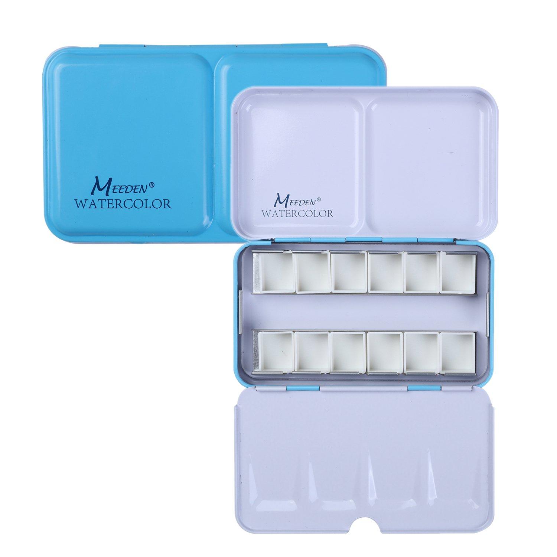MEEDEN Empty Watercolor Tins Box Palette Paint Case, Small Blue Tin with 12 Pcs Half Pans by MEEDEN