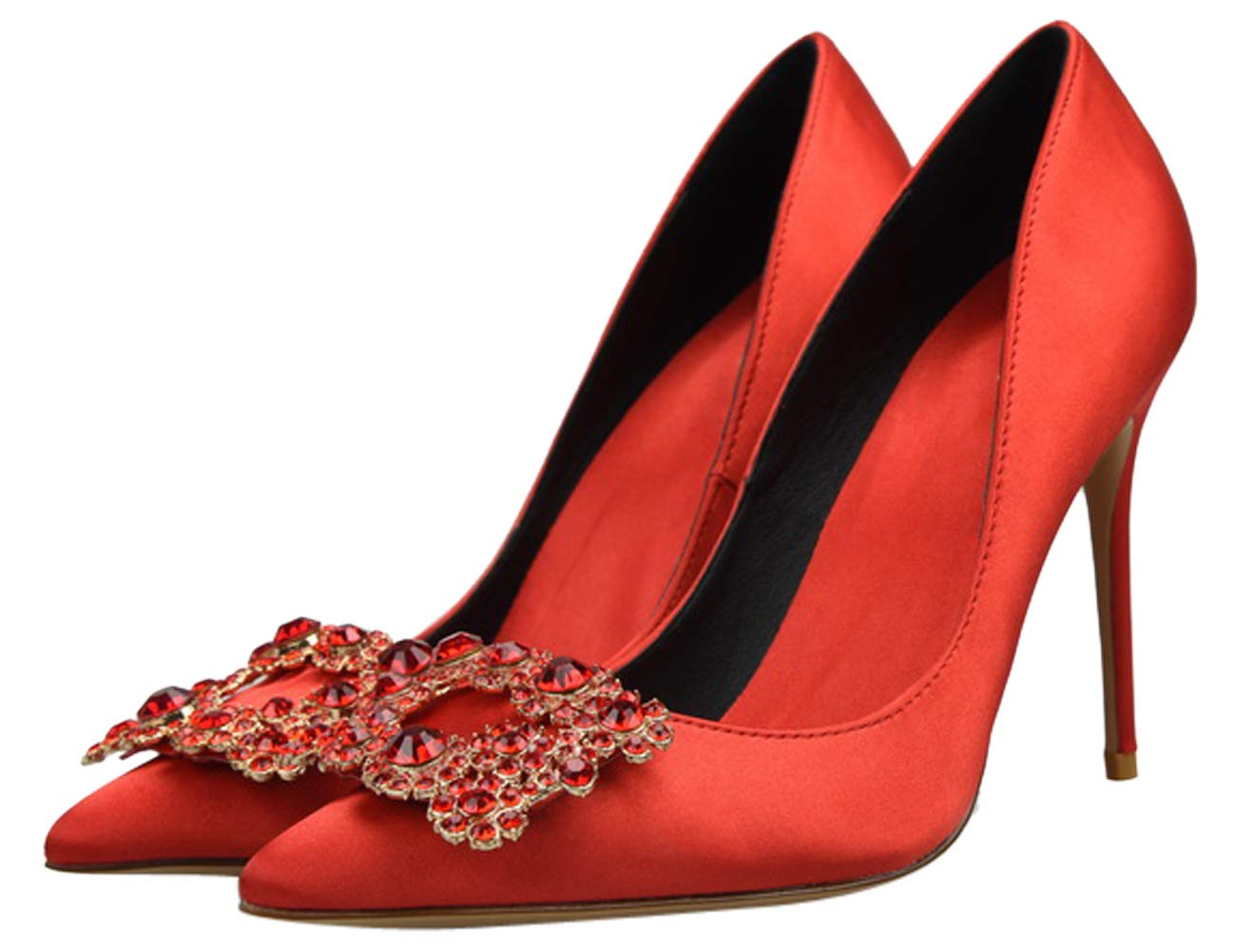 HooH Femme 19914 Escarpins à Chaussures Hauts Talons Soie Tissu Mariée B078SM5GMR Bride Aiguille Strass Bridal Sexy Soirée Robe Chaussures Rouge 741586a - digitalweb.space