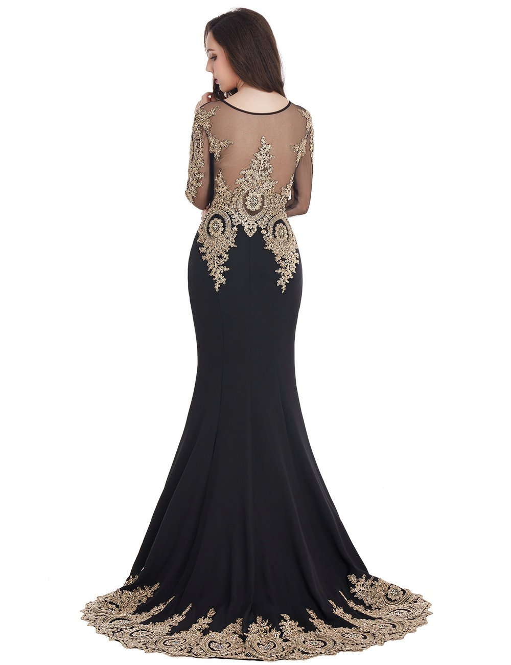 MisShow Black Mermaid Evening Dress for Women Formal Long Prom Dress 2017 by MisShow (Image #5)