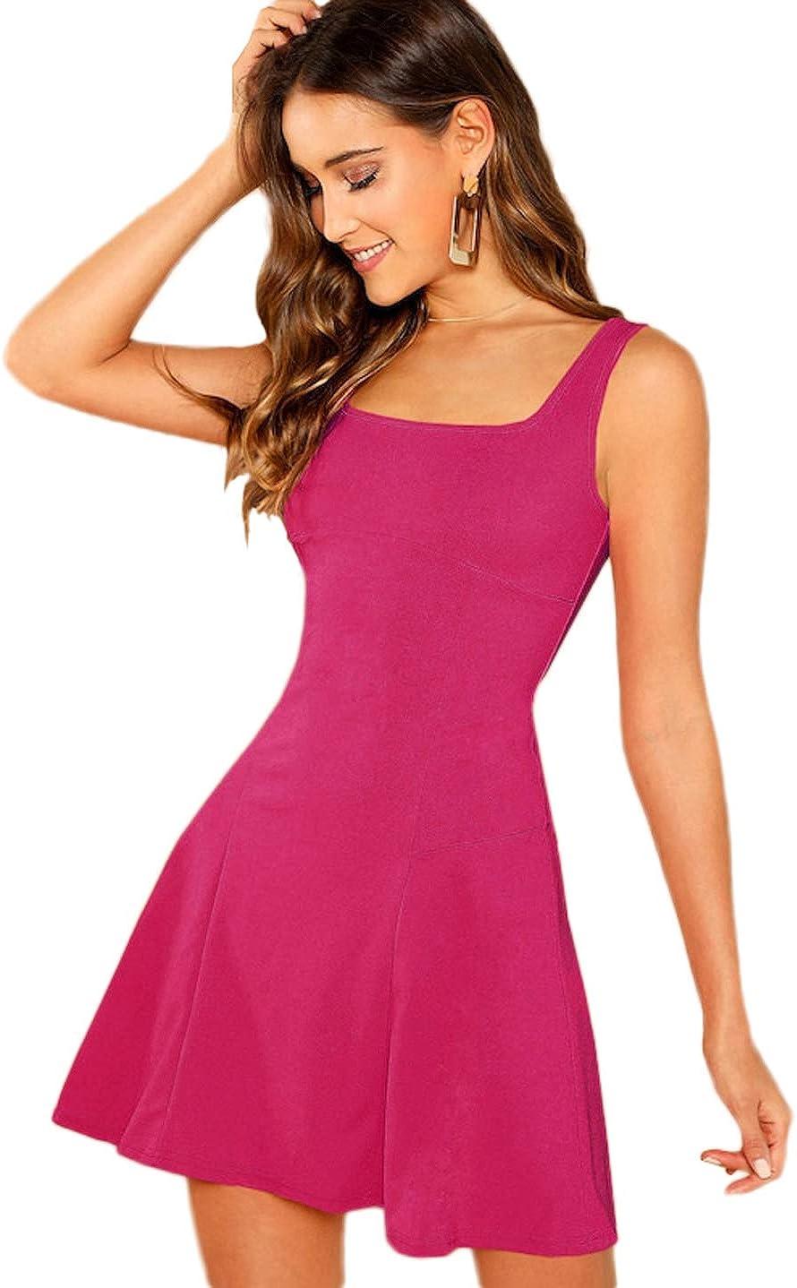 Romwe Women's Sleeveless Zipper A Line Party Mini Bodycon Dress