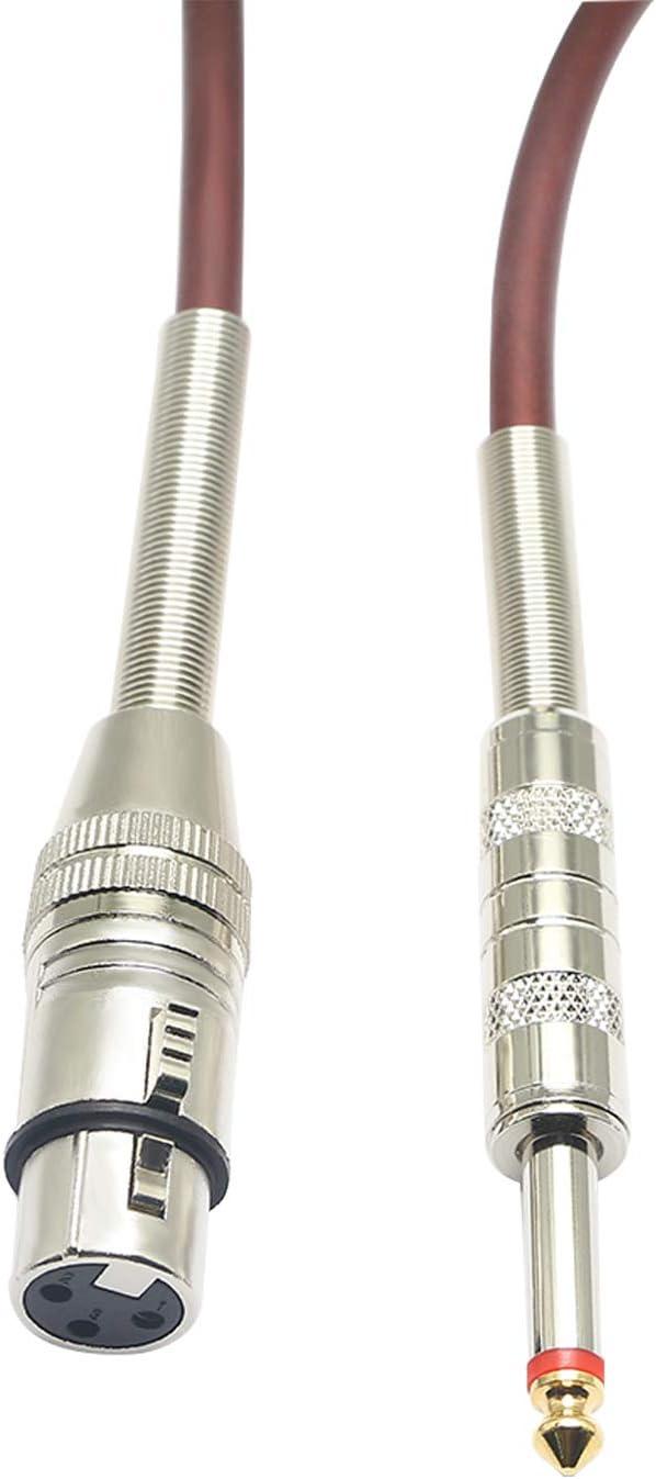XLR auf 1//4 Mikrofonkabel Mikrofonkabel symmetrisch 6,35 mm Mono-Stecker auf XLR 3-Pin-Kabel -5 Meter XLR Buchse auf 1//4 TS