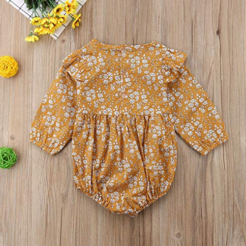 4bbe9e6a9eb Newborn Baby Girls Long Sleeve Floral Bodysuit Infant Ruffle Fly Sleeve  Romper Jumpsuit One Pieces Outfit