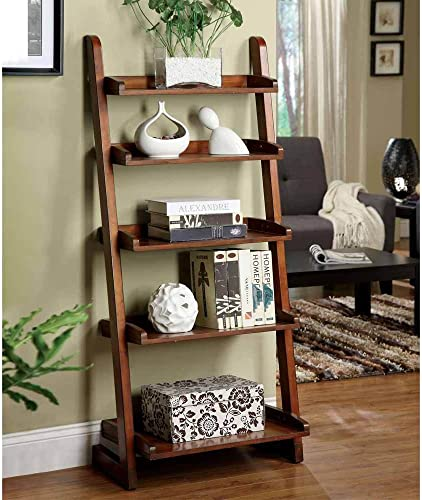 1PerfectChoice Lugo 5-Shelf Ladder Storage Bookcase Display Wall Shelf Solid Wood Antique Oak