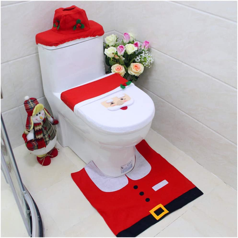 Snowman Santa Toilet Seat Cover Tissue Box Cover Tank Lid Cover and Rug Set Merry Christmas Decorations Fancy Bathroom Plush Felt Cute Festival Decor for Home Hotel Party Supplies Pack of 3 Santa