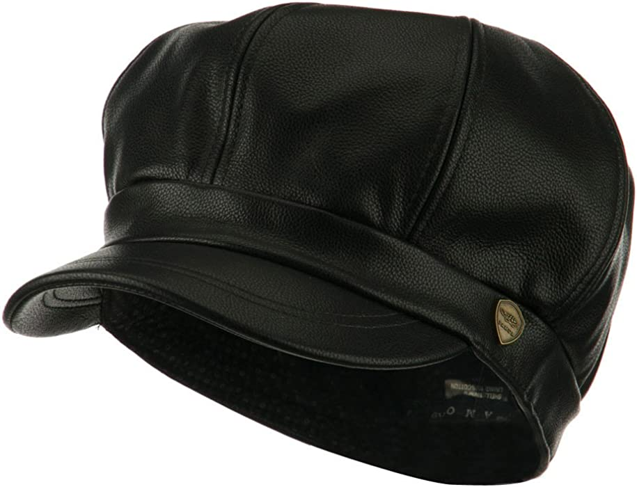 18f4695f6ba City Hunter Faux Leather Spitfire Hat - Black S-M at Amazon Men s ...