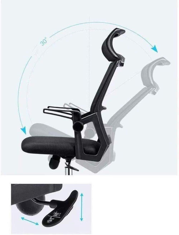 Xiuyun svängbar stol – dator kontorsstol spelstol, hushåll Rgonomisk hög rygg, verkställande justerbar sitthöjd med armstöd nackstöd och ländrygg stöd (färg: vit) Svart B