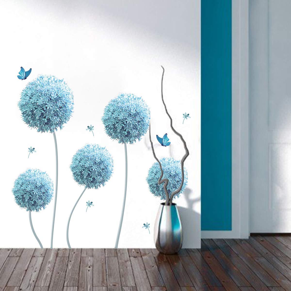decalmile Pegatinas de Pared Allium Azul Vinilos Decorativos Flores Mariposa Adhesivos Pared Infantiles Habitaci/ón Sal/ón Dormitorio