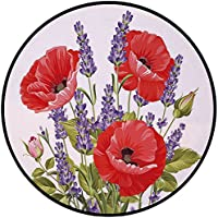 Printing Round Rug,Lavender,Bunch of Lavender and Poppy Flowers Fresh Rustic Botanical Bouquet Decorative Mat Non-Slip Soft Entrance Mat Door Floor Rug Area Rug For Chair Living Room,Red Violet Olive