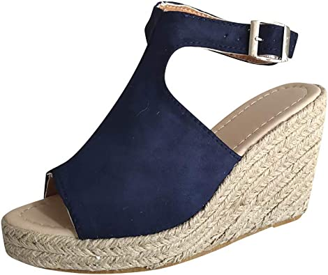 Wedges Casual Sandals Womens Buckle Strap Roman Shoes Sandals