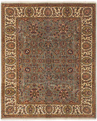 eCarpet Gallery Large Area Rug for Living Room, Bedroom | Hand-Knotted Wool Rug | Finest Agra Jaipur Bordered Green Rug 8'0