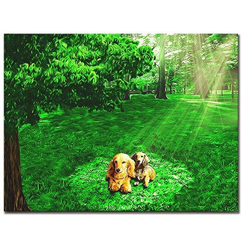 HAPPY PET ワンにゃんアートキャンバス 【木漏れ陽】ミニチュアダックスフンド (L) B075V4M5G7Large