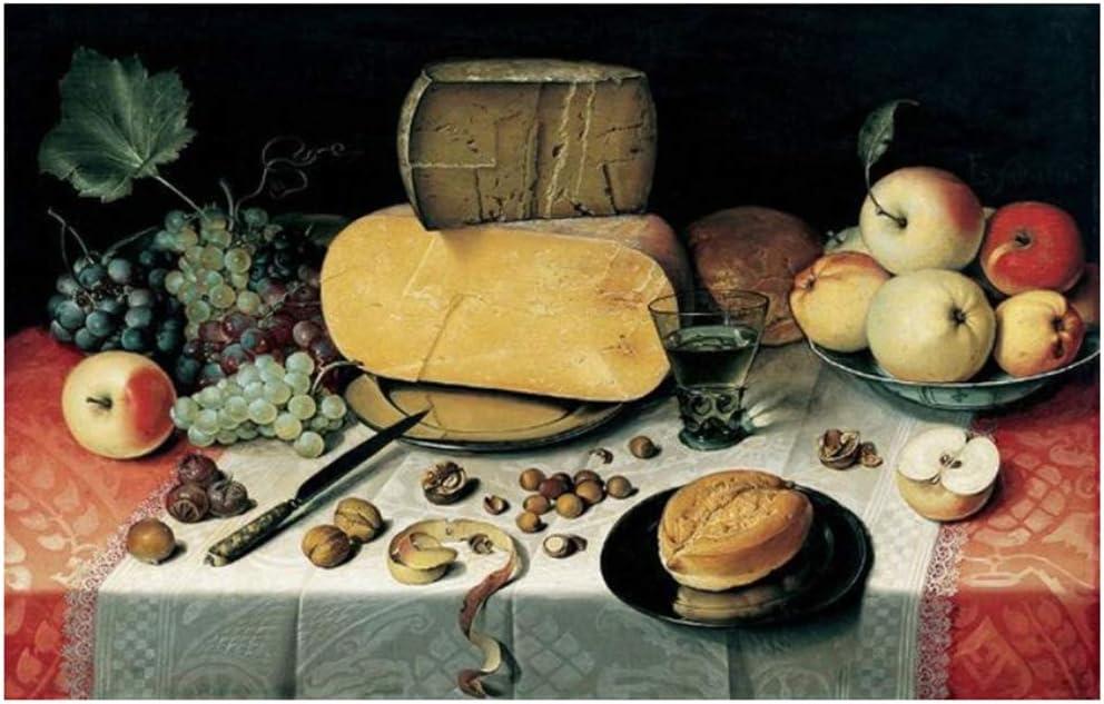 Cuadro en lienzo Bodegones tradicionales Carteles e impresiones Arte de la pared Frutas y pan Cuadros decorativos para la decoración del comedor 40x60cm (15.7