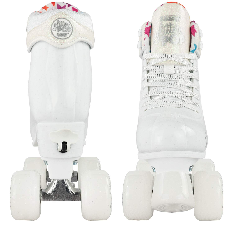 Crazy Skates Glitter POP Adjustable Roller Skates for Girls and Boys | Size Adjustable Quad Skates That Fit 4 Shoe Sizes | White (Sizes jr12-2) by Crazy Skates (Image #9)
