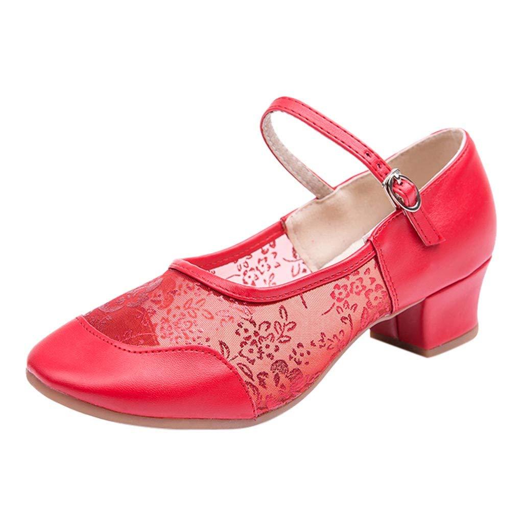 LANSKIRT _ Chaussures de danse en Gaze Mi-Toile à Boucle Chaussures De Danse Latine Talons Hauts Sandales pour Femme