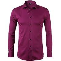 Camicia Elastica di bambù Fibra per Uomo, Slim Fit, Manica Lunga Casual/Formale