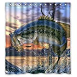 Bass Fishing Shower Curtain Generic Personalized Large Mouth Bass Colorful Bling Jumping Out Of The Sea Shower Curtain Bath Decor Curtain 66