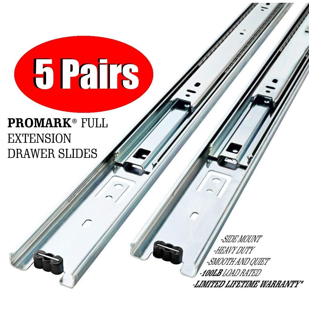 Promark Full Extension Drawer Slide (22 Inches-5 Pack)