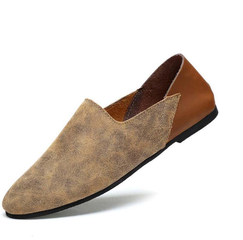 Pumpe Männer Leder Lässige Schuhe Schlüpfen Loafer Oxford England-Stil Farbübereinstimmung Atmungsaktiv Anti-Rutsch Lazy Schuhe Fahrschuhe Pedal Schuhe Eu Größe 38-46