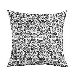 warmfamily Personalized Pillowcase Vintage Hand Drawn Sketch Style Monochrome Digital Wrist Analog Watches Bird Wall Clocks Protect The Waist W20 xL20 Black White
