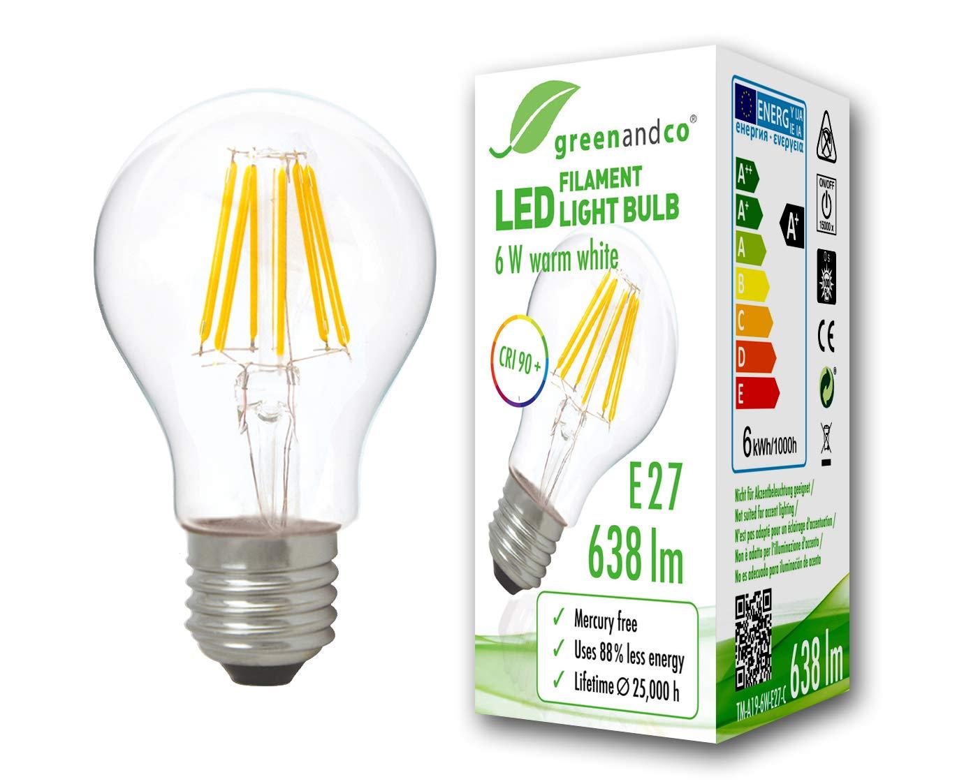 Bombilla de filamento LED greenandco® IRC 90+ E27 6W (corresponde a 50W) 638lm 2700K (blanco cálido) 360° 230V AC vidrio, sin parpadeo, no regulable: ...